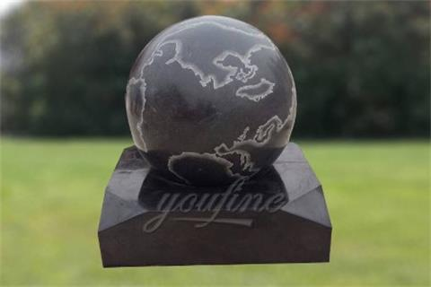Gorgeous Stone Rolling Sphere Limestone Water Fountain with World Map Figure