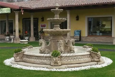 Antique White Marble Outdoor Horse Garden Water Fountains