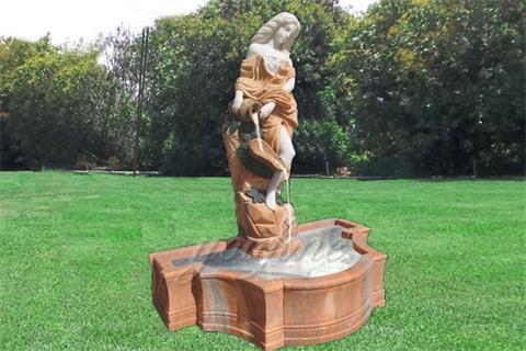 Beautiful Maiden Garden Marble Statue Water Fountain
