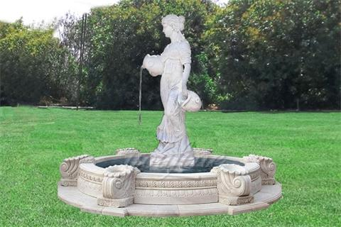 Buy Lady Vase Statue White Marble Water Fountain Sale