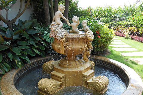 Hand Carved Marble Water Fountain with angel statues