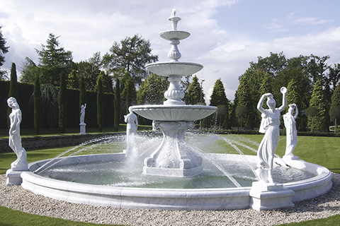 Garden White Marble Water Fountain with beautiful lady statues