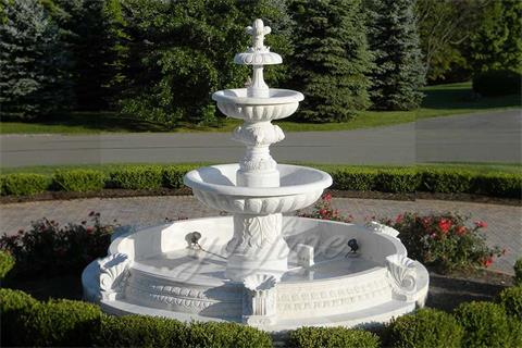 Factory Directly Sales 3 Tier Lion Head White Marble Fountain
