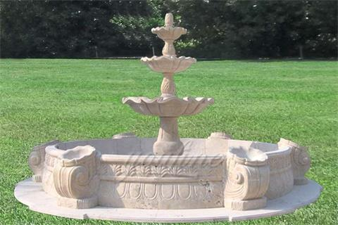 Outdoor Garden Retro 3 Tier Stone Fountain with Basin