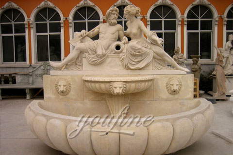 Outdoor Lion Head Wall Marble Fountain Sale by Factory