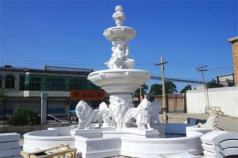 Hand Carving Lion Large Garden Marble Fountain For Sale