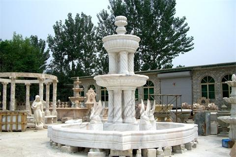 Garden Swan Large Marble Fountain Designs with Columns